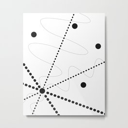 """Per aspera ad astra"". Abstract composition based on the contrast of dots (black dots). Metal Print"