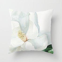 Watercolor Magnolia Blossom Throw Pillow