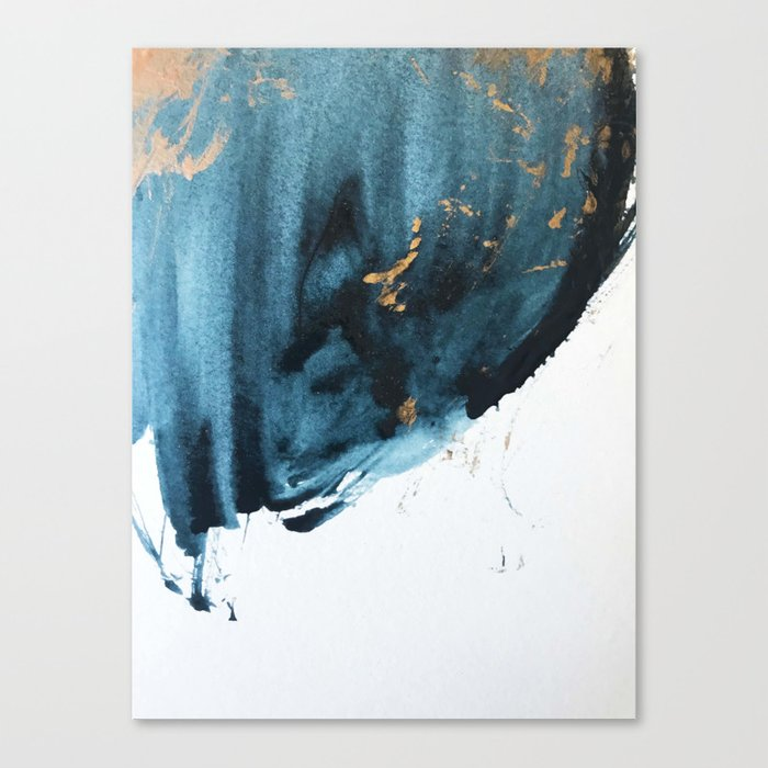 Sapphire and Gold Abstract Canvas Print