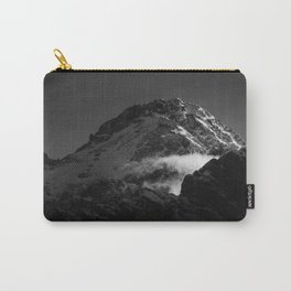 Black and white windy snowy mountain Carry-All Pouch
