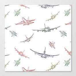 Colorful Plane Sketches Canvas Print