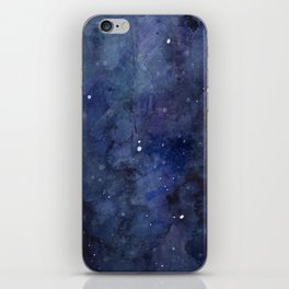 Galaxy Nebula Watercolor Night Sky Stars Outer Space Blue Texture iPhone Skin