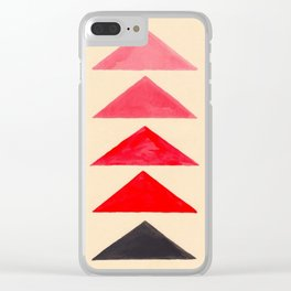 Vintage Scandinavian Red Geometric Triangle Pattern Clear iPhone Case