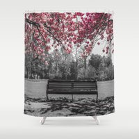 cherry blossom Shower Curtains featuring Cherry Blossom by Claire Doherty