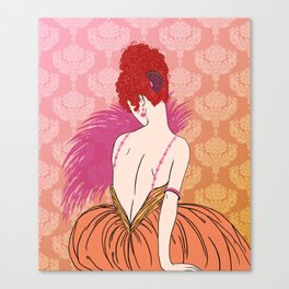 Art Deco Lady with Damask - BIANCA: Melon Melange Canvas Print