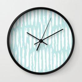 Vertical Dash Stripes White on Succulent Blue Wall Clock