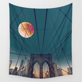 Blood Moon over the Brooklyn Bridge and New York City Wall Tapestry