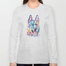 German Shepherd Watercolor Pet Portrait Painting Long Sleeve T-shirt