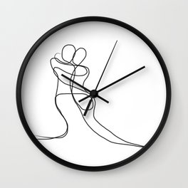 One-line figures entwined in a lover's embrace Wall Clock