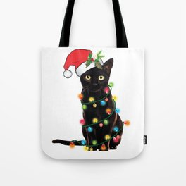 Santa Black Cat Tangled Up In Lights Christmas Santa T-Shirt Tote Bag