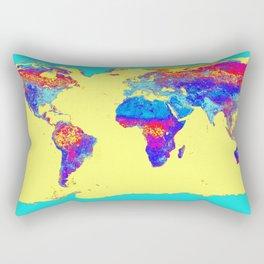 world mAP Colorful Rectangular Pillow