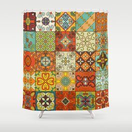 Vintage mosaic talavera ornament Shower Curtain