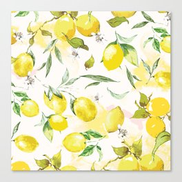 Watercolor lemons Canvas Print