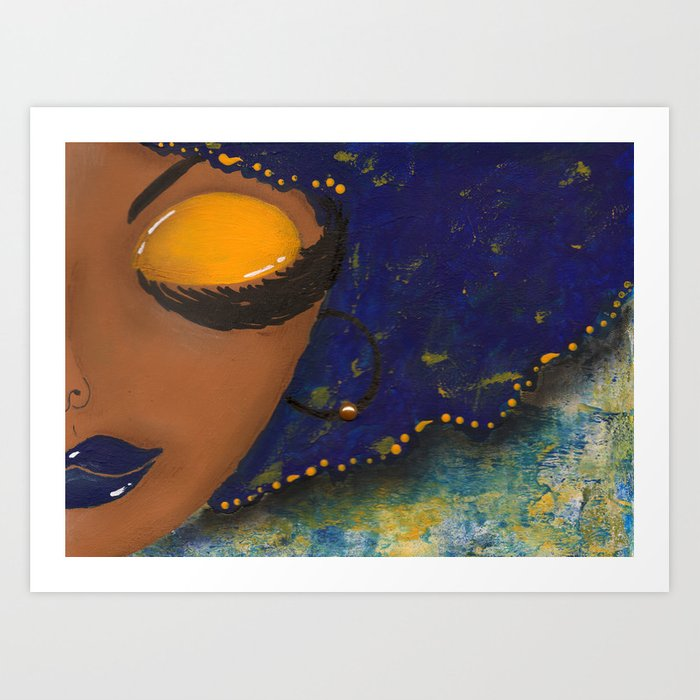 Blue and Gold Sassy Girl  Art Print