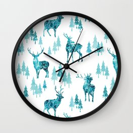 Ice Forest Deer Wall Clock