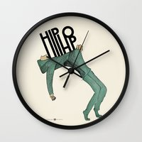 hip hop Wall Clocks featuring Hip-Hop by Mariana Baldaia