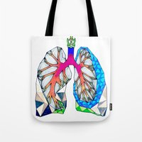 lungs Tote Bags featuring Lungs by Heidi Failmezger
