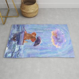 an elephant and a dog float in a boat in the rain, digital painting Rug