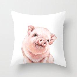 Pink Baby Pig Throw Pillow