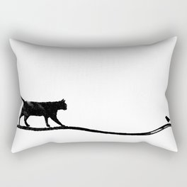 Cat with Bird Rectangular Pillow
