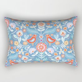 Happy Folk Summer Floral on Light Blue Rectangular Pillow