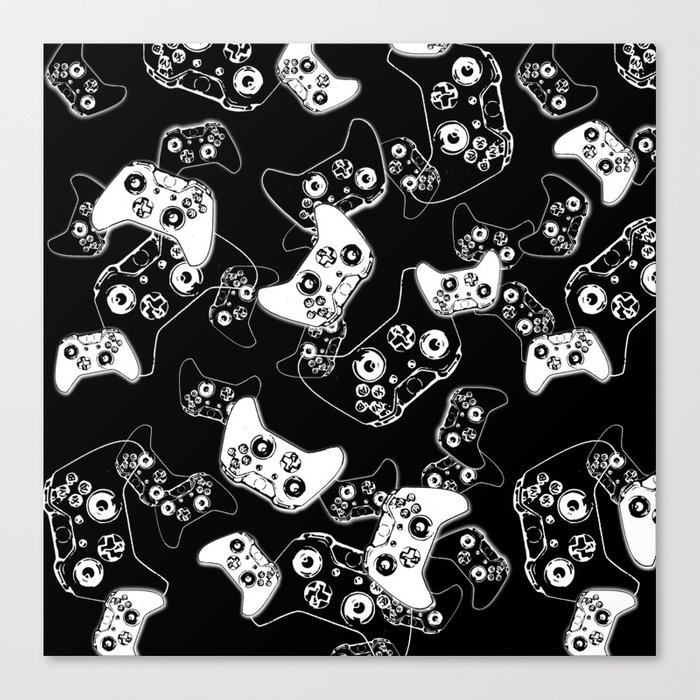 Video Game White on Black Canvas Print