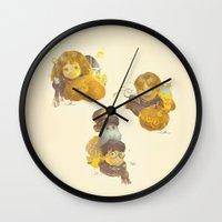 meme Wall Clocks featuring MEME 013 Hermione Ron Harry by mushroomtale