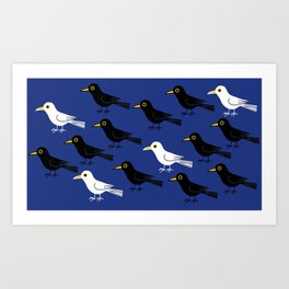 Black and white birds Art Print