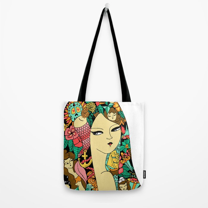 Girl with Tattoo Tote Bag