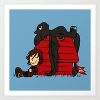 peanuts Art Prints featuring Dragon Peanuts by le.duc