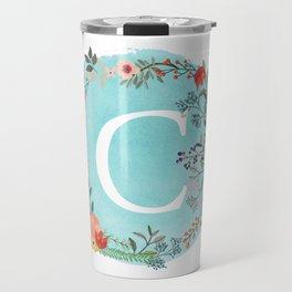 Personalized Monogram Initial Letter C Blue Watercolor Flower Wreath Artwork Travel Mug