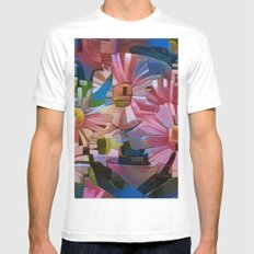 A Daisy Abstract MEDIUM Mens Fitted Tee White