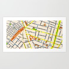 Tel Aviv map - Shenkin Area (Hebrew) Art Print
