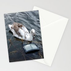 The swan and the tv Stationery Cards