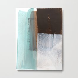 Aqua, White, Brown Geometric Abstract Painting Metal Print