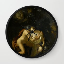 Adriaen Van Der Werff - A Couple Making Love In A Park Spied On By Children Wall Clock