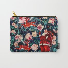 Santa Claus and Floral Pattern Carry-All Pouch