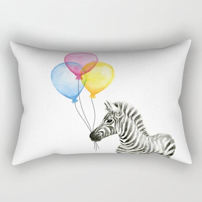 Zebra with Balloons Watercolor Baby Animals Rectangular Pillow