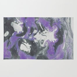Marbled Ink - Purple Gray & White Rug