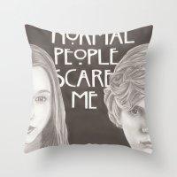 kris tate Throw Pillows featuring Violet & Tate by JadeJonesArt
