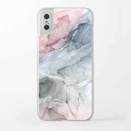 Pastel Blush, Grey and Blue Ink Clouds Painting Clear iPhone Case