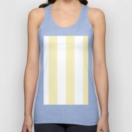 Wide Vertical Stripes - White and Blond Yellow Unisex Tank Top