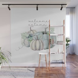 welcome autumn blue pumpkin Wall Mural
