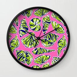 Shells on Pink Wall Clock