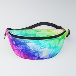 Watercolor rainbow abstract bubble splashing paint isolated on white background Fanny Pack