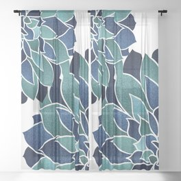Festive, Floral Prints, Navy Blue and Teal on White Sheer Curtain