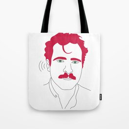Blue-tooth pink mustache guy Tote Bag