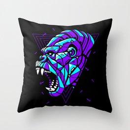 Cyber Gorilla Punk Throw Pillow
