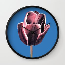 Red Violet Tulip in Watercolor Wall Clock