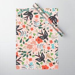 Around The Garden on Pink Wrapping Paper